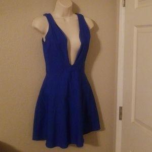 Blue plunge dress